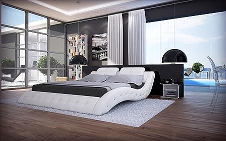 Polsterbett 180 x 200 cm Mood in weiß modernes Designbett mit SAM®-Lederimitat bezogen und Zierleiste