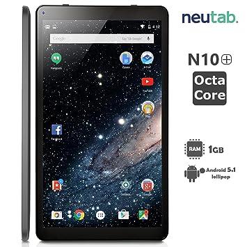 NeuTab® 10.1 Inch Octa Core Android 5.1 Lollipop System Tablet 1GB RAM 16GB ROM Bluetooth 4.0 Dual Camera Mini HDMI output Slim Design Black