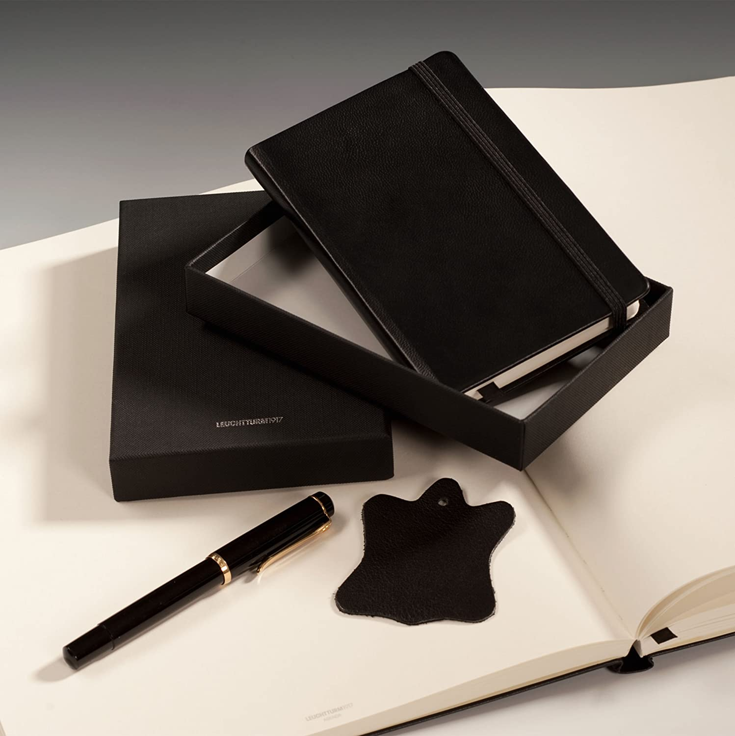 Leuchtturm Genuine Black Leather Notebook - Master A4 - Plain / Blank