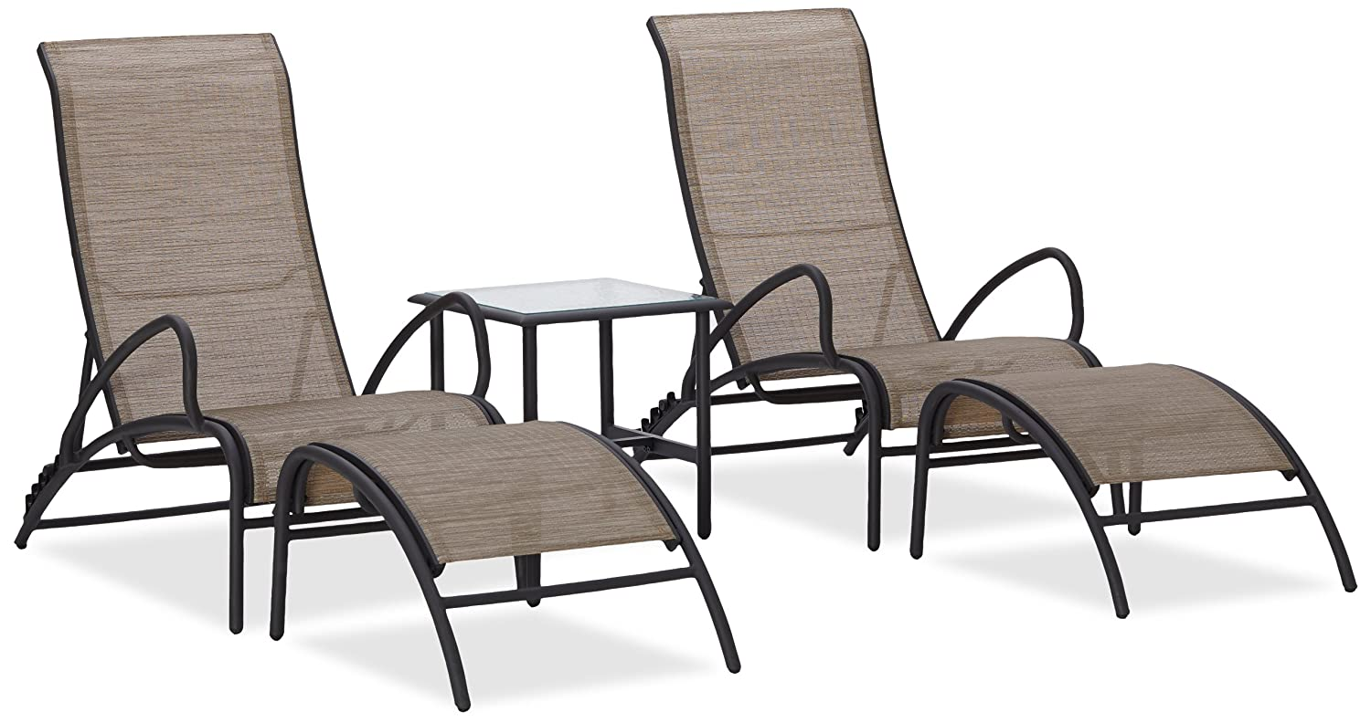 5 piece aluminum sling furniture set w 2 recliners ottoman for Outdoor furniture amazon
