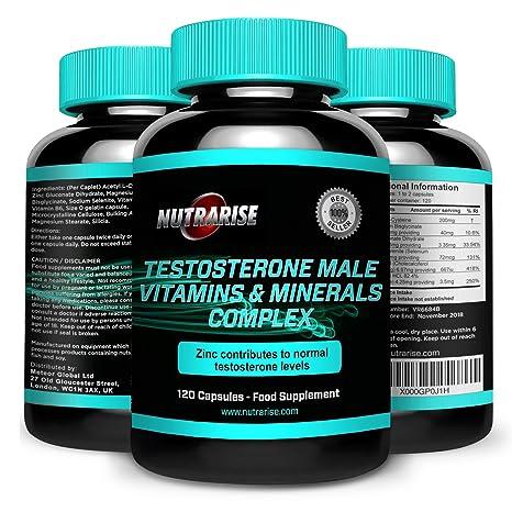 Testosteron-Booster, Vitamine-Mineralstoffe, 6-in-1 Komplex, Bahnbrechende Energiezufuhr und Testosteronbombe Fur Extremes Muskelwachstum, 100% Geld Zuruck Garantie, Hergestellt in GB, 120 Kapseln