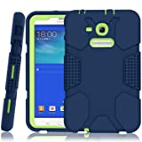 Samsung Galaxy Tab E Lite 7.0 Case, Galaxy Tab 3 Lite 7.0 Case, Hocase Rugged Heavy Duty Kids Proof Protective Case for SM-T110/SM-T111/SM-T113/SM-T116 - Navy Blue/Lime Green (Color: A01 - Navy Blue / Lime Green)