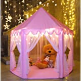 """Ejoyous Gift for Girls Age 5/6/7/8/9, Play Tent for Girls, Playhouse for Kid, Princess Castle Game for Indoor Outdoor With Star LED Lights, Large, Pink, 40""""40"""" (Color: Pink01, Tamaño: Hexagon)"""