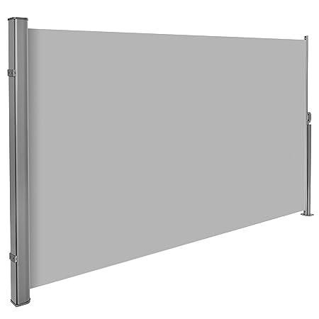 TecTake Toldo lateral de aluminio separador retráctil terraza protección 200x300 gris