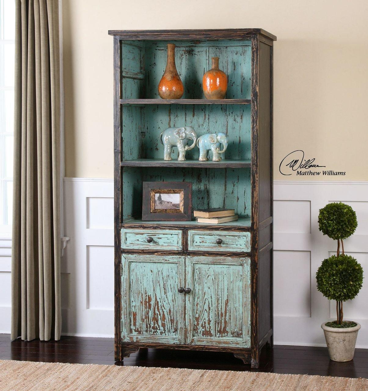 Aqua Turquoise Distressed Bookshelf | Cottage Blue Bookcase Shelf 1