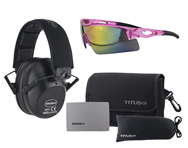 TITUS Slim-line Earmuffs and Safety Glasses Combo Pack (Black, Pink Frame w/Mirrored Lens) (Color: Pink Frame w/ Mirrored Lens, Tamaño: Black)
