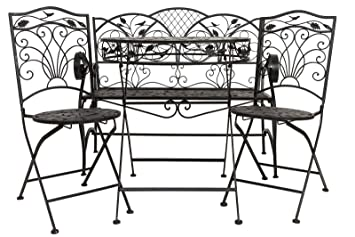 Set de fer style antique jardin brun mobilier de jardin table de