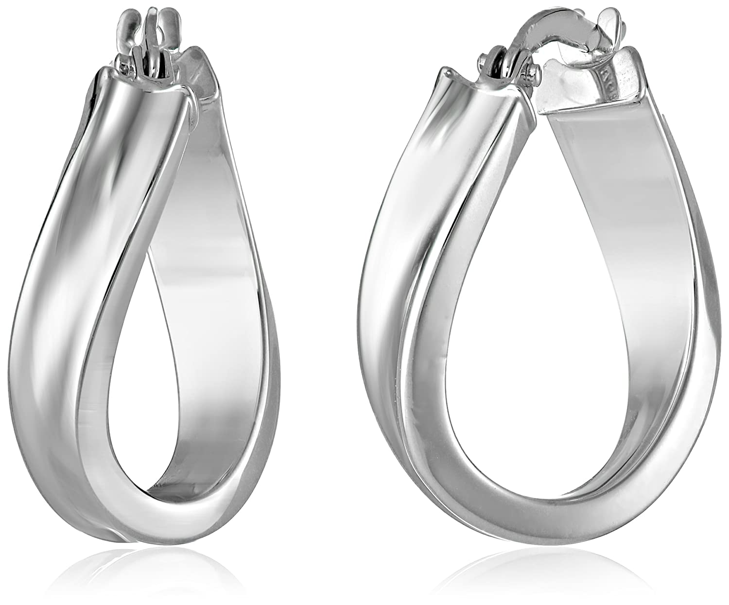 White Gold Filigree Hoop Earrings 14k White Gold Wavy Hoop