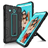 Samsung Galaxy Tab E 9.6 Case, USHAWN Hybrid Three Layer Heavy Duty Shockproof Full-Body Protective Kickstand Case Cover Compatible with Galaxy Tab E 9.6 inch/SM-T560 / SM-T561 / SM-T567V (Blue) (Color: Blue)