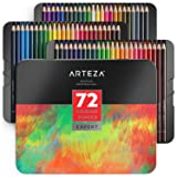 ARTEZA Colored Pencils, Professional Set of 72 Colors, Soft Wax-Based Cores, Ideal for Drawing Art, Sketching, Shading & Coloring, Vibrant Artist Pencils for Beginners & Pro Artists in Tin Box (Color: Colored Pencils 72)