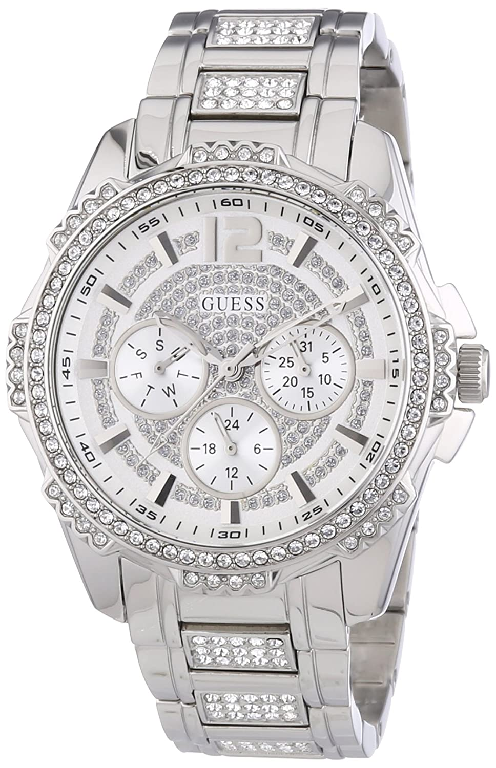 Guess W0286L1 mm Silver Steel Bracelet & Case Mineral Women's Watch guess sport steel w0366g4