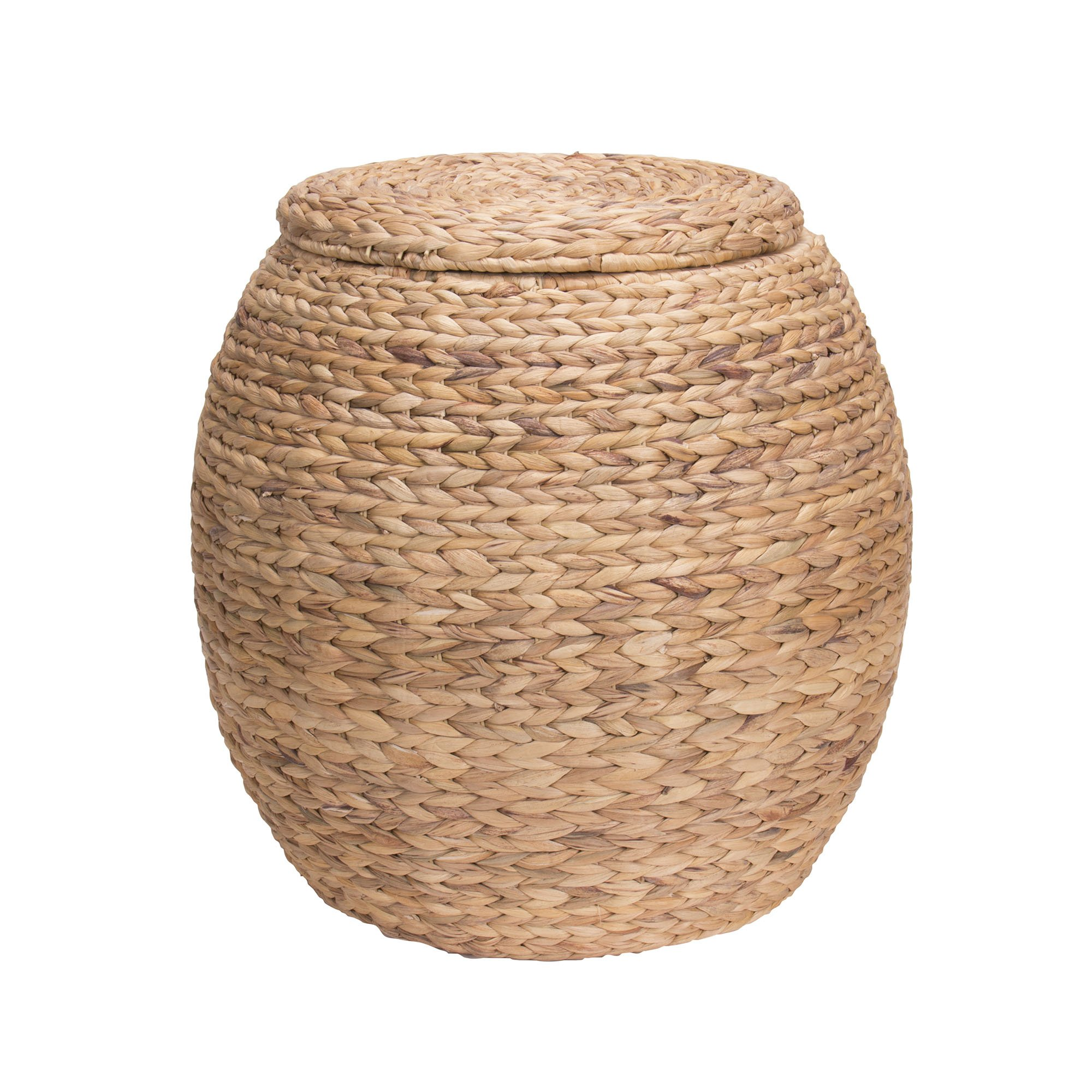 household essentials large round water hyacinth wicker storage basket with lid. Black Bedroom Furniture Sets. Home Design Ideas