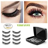 Magnetic Eyelashes No Glue-Reusable False Eyelashes Set for Natural Look ,3D Reusable Full Eye Fake Lashes Extensions By Verfanny- Thick Soft & Handmade Seconds to Apply (2 Pair 8 Pcs)