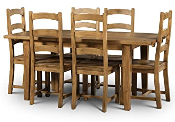 Julian Bowen Mayflower Extending Dining Table and 4-Chairs Set with English Oak Finish, Distressed Pine