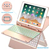Keyboard Case Compatible with iPad 2018 (6th Gen)/2017 (5th Gen)/Pro 9.7/Air 2 & 1 | Double-Rotating Hinge & Aluminum Keyboard/Case | Colorful Backlit Keys & Long Working Time (Rose Gold) (Color: Rose Gold, Tamaño: 9.7
