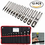 Spurtar 12 PCS Steel Hollow Leather Punch Set Heavy Duty Round Leather Hole Tool for Watch Cloth Belt Gaskets w/Storage Bag 1/8''-3/4'' (Tamaño: 12 Pieces)