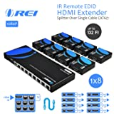 OREI 1x8 HDMI Extender Splitter Over Single Cable CAT6/7 1080P With IR Remote EDID Management - Up to 132 Ft - Loop Out - Low Latency (Color: Black, Tamaño: 1x8 HDMI Extender - 132 FT)