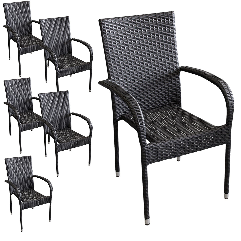 6 Stück Poly Rattan Gartensessel Stapelstuhl Gartenstuhl stapelbar Terrassenmöbel Balkonmöbel Schwarz günstig online kaufen