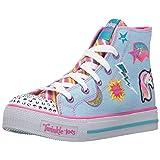 Skechers Kids Girls' Shuffles-Twist N'Turns Sneaker,Denim/Multi,2 M US Little Kid (Color: Denim/Multi, Tamaño: 2 M US Little Kid)