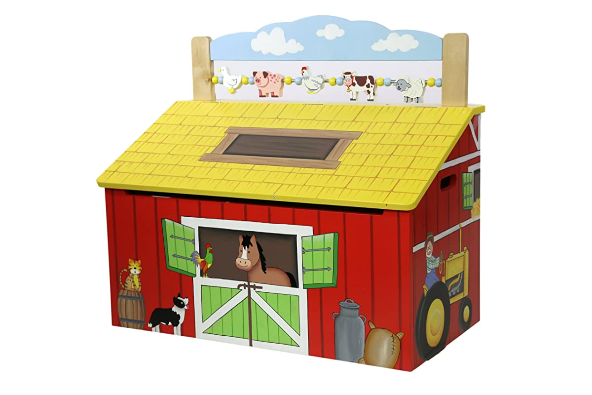Happy Farm Animals Kids Wooden Toy Chest