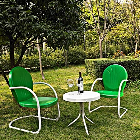 Crosley KO10004GR 3-Piece Griffith Metal Outdoor Conversation Seating Set, Grasshopper Green/White