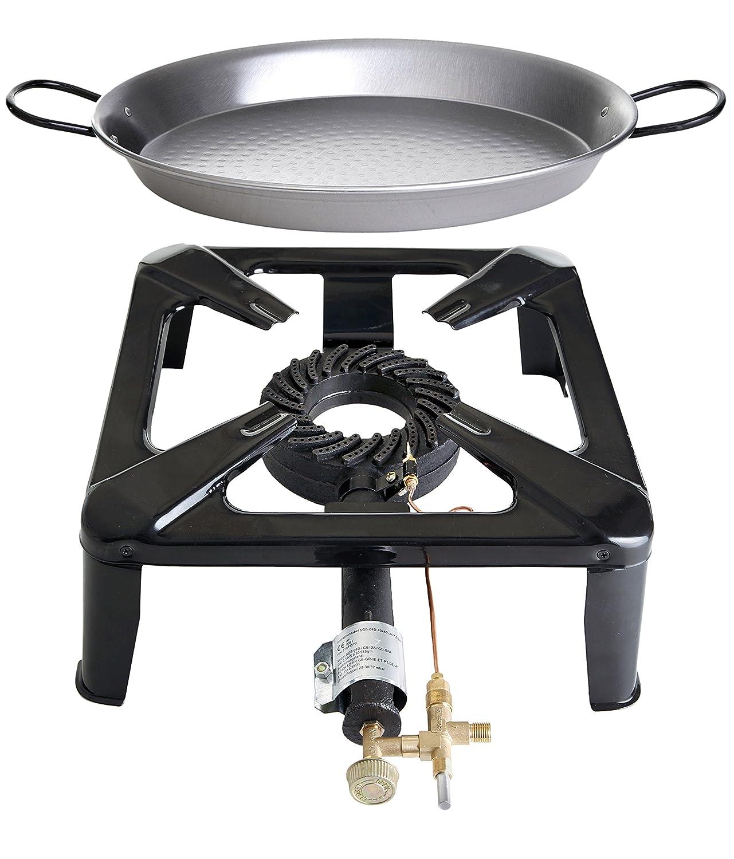Hockerkocher-Set 4 mit Paella-Pfanne aus Stahl, groß günstig