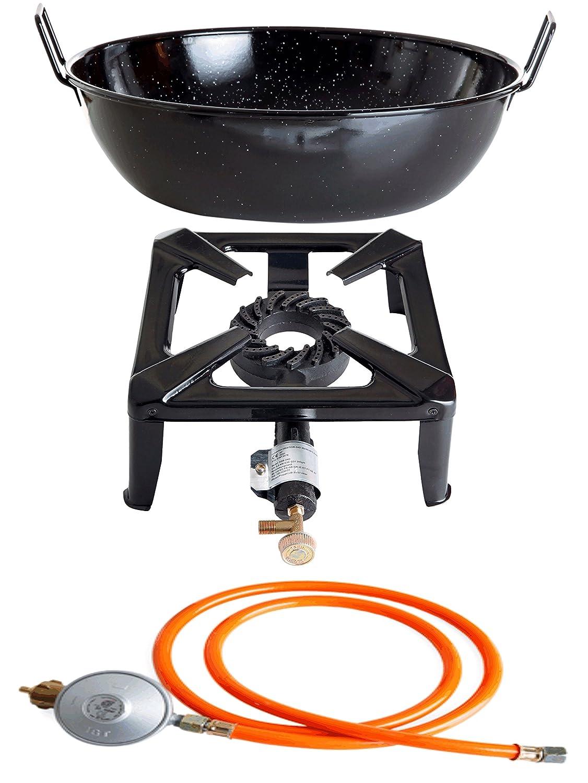 Hockerkocher mit 8.5 kW Leistung, Abmessung 30x30x15 cm und Emailleschüssel/Topf Ø 30 cm inkl. Gasschlauch & Regler kaufen
