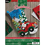 Bucilla Felt Applique Stocking Kit, The Christmas Drive, 18-Inch, 86663 (Color: Blue, Green, Yellow, Red, White, Tamaño: 18