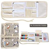 Teamoy Crochet Hook Case, Canvas Roll Bag Holder Organizer for Various Crochet Needles and Knitting Accessories, Compact and All-in-one, Cartoon Cats (Color: Cartoon Cats, Tamaño: Canvas Crochet Hook Case)