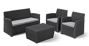Allibert Gartenmöbel Lounge Set Corona Rattanoptik Kunststoff anthrazitKundenbewertung und Beschreibung
