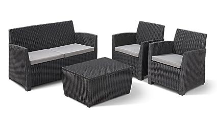 Allibert Corona - Juego de mesa, sofá y sillones para jardín (plástico con efecto ratán), color gris oscuro