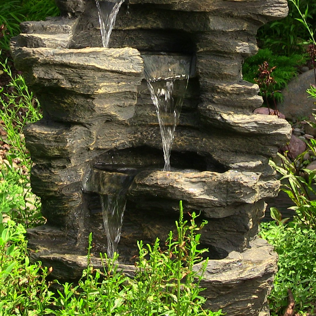 Sunnydaze Rock Falls Electric Waterfall Fountain with LED Lights, 39 Inch Tall