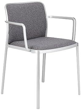 Kartell Audrey Soft Sessel, Plastik, aluminium bemalt weiß / beige, 51 x 80 x 60 cm
