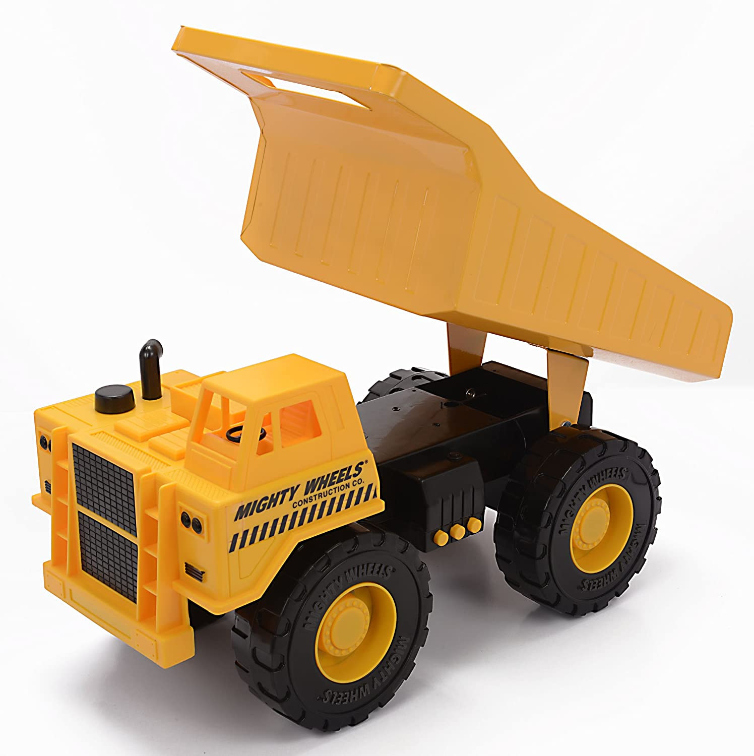 "Mighty Wheels 15.5"" Motorized Sound and Light Rev Up Heavy Steel Dump Truck"
