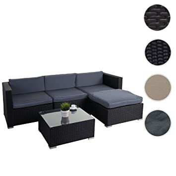 Poly-Rattan-Garnitur Brindisi, Gartengarnitur Sitzgruppe Lounge-Set ~ schwarz, Kissen grau