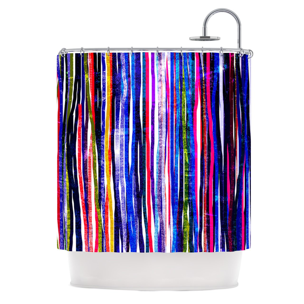 """Frederic Levy-Hadida """"Fancy Stripes Purple"""" Shower Curtain, 69 by 70-Inch"""