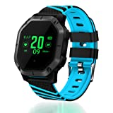 UsHigh Smart Watch Bluetooth Sport Multifunctional Activity Trackers Blood Pressure Heart Rate Sleep Monitor Pedometer Calorie Counter Unisex Waterproof Fitness Band (Color: Black & Blue)