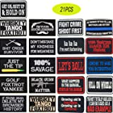 Iron on Patches 21 Pieces Assorted Cool Patches Fabric Embroidered Patches Motif Applique Kit (Color: 21PCS, Tamaño: 21PCS)