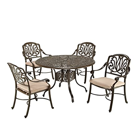 Home Styles 5559-308 Floral Blossom Taupe 5-Piece Dining Set