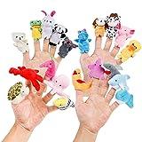 Oiuros 20pcs Different Cartoon Animal Finger Puppets Soft Velvet Dolls Props Toys