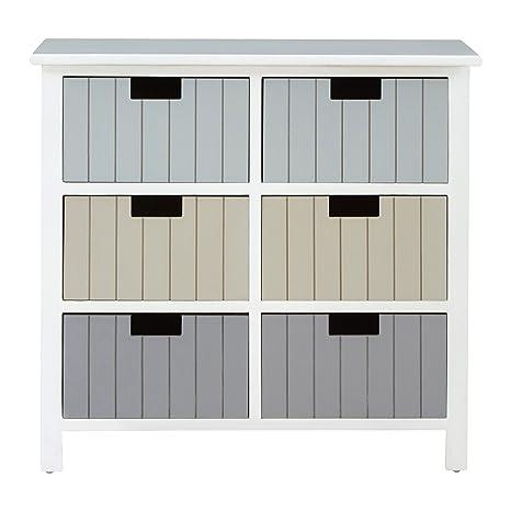 Premier Housewares New England Kommode mit, Weiß, holz, Weiß, 6 Drawer