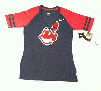 Cleveland Indians Women's Navy Blue Logo Fan V-neck T-shirt (Medium)