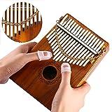Thumb Piano 17 Keys Kalimba Acacia KOA Body Finger Piano Mbira Sanza Thumb Instrument with Kalimba Songbook 15 Songs Study Guide, Tuning Hammer and 4 Pcs Finger Thumb Picks(Solid KOA Wood) (Color: Koa Kalimba)