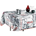 "60 x 120-Inch Rectangular Tablecloth Black, White and Red Vintage New York, Stain Resistant, Washable, Liquid Spills bead up, Seats 10 to 12 People (Other Size Available: 63"" Round, 60 x 80"", 60 x 95"")."