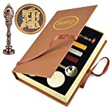 Samyo Wax Sealing Stamp Classic Old-Fashioned Antique Alphabet Initial Letter Creative Romantic Seal Stamp Maker Copper (F) (Color: F)