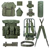 Akmax.cn G.I. Military Surplus Rucksack Alice Pack,Army Survival Combat Field Backpack Frame Accessories 14PCS 600D Polyester Waterproof Olive Drab (Color: Green3, Tamaño: pack14pcs)