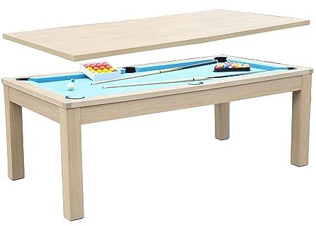 Table à Manger Billard CONVERTIBLE TABLE A MANGER (contrecollé décor chêne tapis bleu)