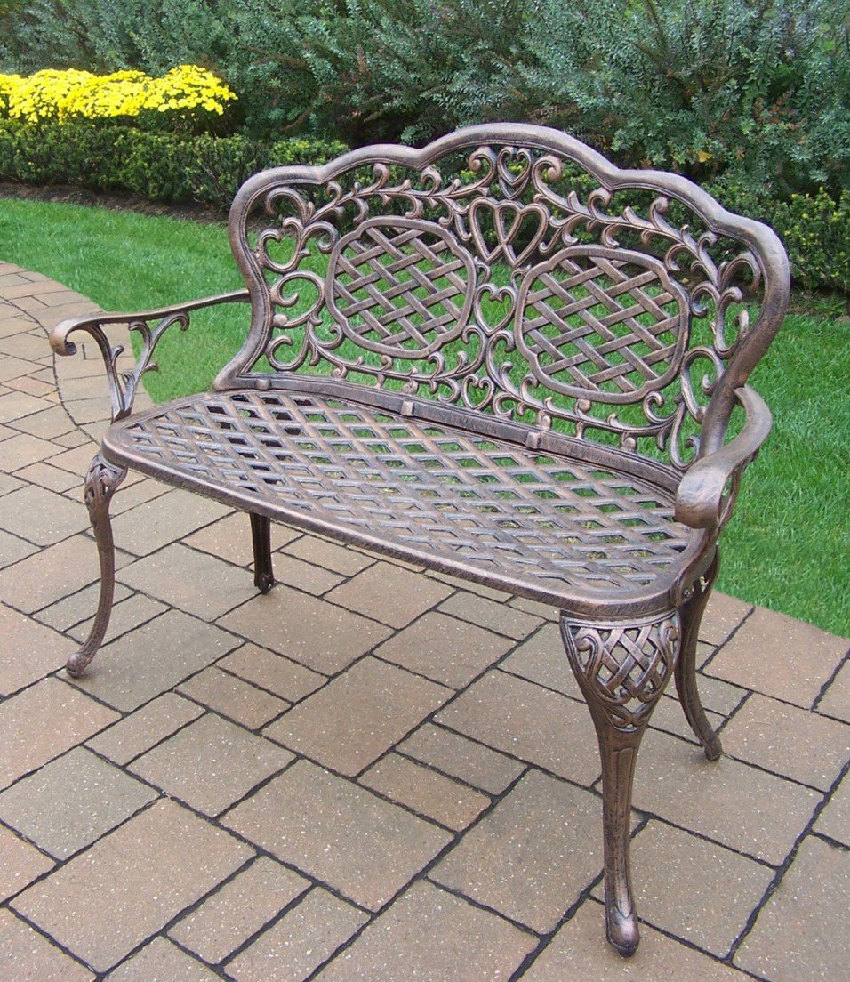 Oakland Living Mississippi Cast Aluminum Love Seat Bench, Antique Bronze 0