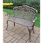 Oakland Living Mississippi Cast Aluminum Love Seat Bench, Antique Bronze