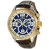Reloj Invicta 15117 Specialty para hombre, dial azul, cronógrafo y pulsera de cuero cafe.
